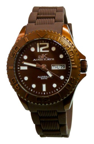 Adee Kaye D' Aluminio ak5433-L/BN 47.4x42.3mm Aluminium Case Brown Silicone Mineral Women's Watch