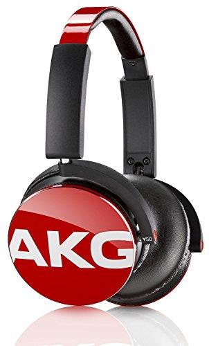 AKG Y50 Cuffie Portatili Pieghevoli con Cavo Rimovibile e Controllo Remoto Volume/Microfono, Compatibili con Dispositivi Apple iOS e Android, Rosso