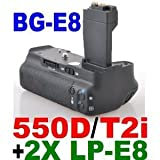 LP-E8Compatible Battery Grip for Canon EOS 550D /Canon EOS 600D/ Rebel T2i Digital Cameras + 2 LP-E8 Batteries