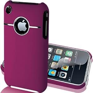 Supergets Hülle für Apple iPhone 3GS 3G Case Schale Cover in Lila aus Baumharz mit Aluminium Silberfarbig Chrom Drahtziehen Optik und Schutzfolie