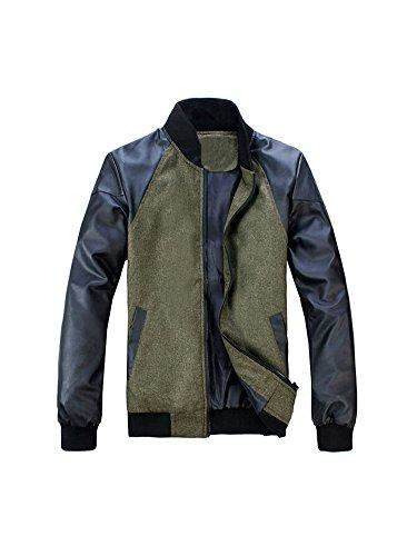 Keral invernale, Splicing Pu Cerniera Color Block giacca da uomo Green X-Large