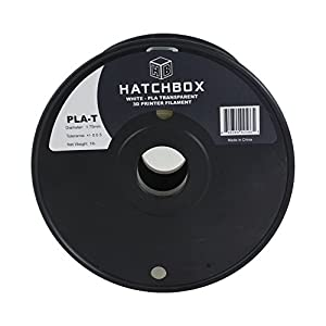 HATCHBOX 3D PLA-1KG1.75-TWHT PLA 3D Printer Filament, Dimensional Accuracy +/- 0.05 mm, 1 kg Spool, 1.75 mm, Transparent White from HATCHBOX