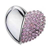 ハートジュエリー型USBメモリー Heart Shape Crystal Diamond Jewelry USB Flash Memory Drive Necklace Pendant - 16GB 【並行輸入品】 (Pink...