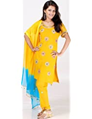 Exotic India Mustard Choodidaar Suit With Mirrors And Brass Beads - Mustard