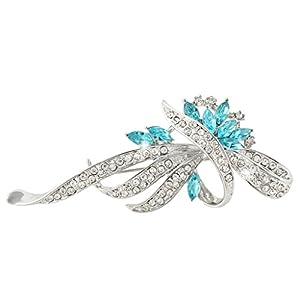Flower Wave Brooch Blue Austrian Crystal Silver-Tone N03878-1