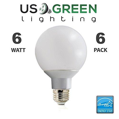 Bathroom Vanity Lights Flickering : 6 Pack LED G25 Vanity Globe Light Bulb - DIMMABLE - 6W (40 Watt Equivalent) Warm White (2700K ...
