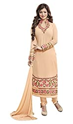 Manthan Light Peach Embroidered Un-Stitched Chudidar Suit