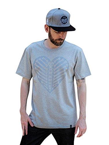 【 UN ANANAS 】 ユニセックス モダン スカル ハート Tシャツ おもしろ プリント デザイン トップス アート ドクロ ブラック グレー (グレー,S)