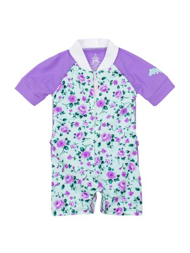 Infant/Toddlers Girls Upf50+ All In One Solar Suit W Frill Pl Apparel Color: Rose / Lilac Apparel Size: 12-24 Months