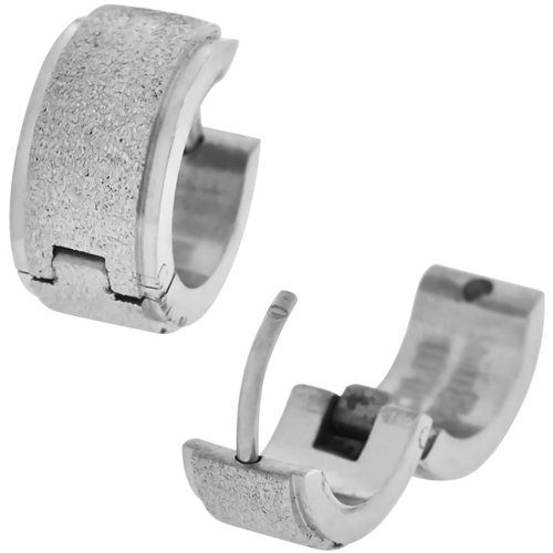 Inox Jewelry Thick Sparkling Stripe 316L Stainless Steel Huggy Earrings