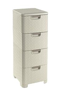 Curver 209907 Storage Drawer Tower Wicker Look Polypropylene 4 x 14 L