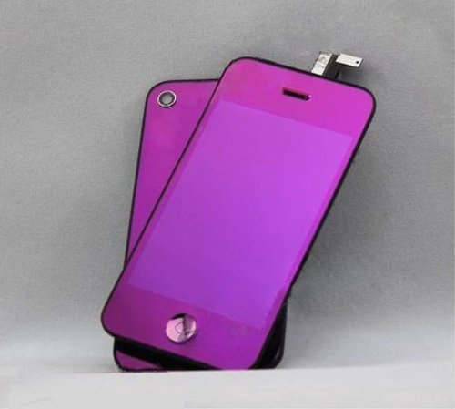 Nangao Electroplate Mirror Colors For Iphone4S Lcd Display Touch Screen Glass Digitizer Assembly Replacement With Cover Frame (Purple)