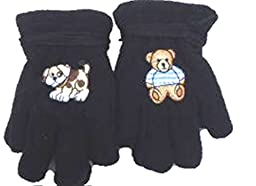 Set of Two Pairs Fleece Black Gloves Trimmed with One Brown Dog Other Teddy