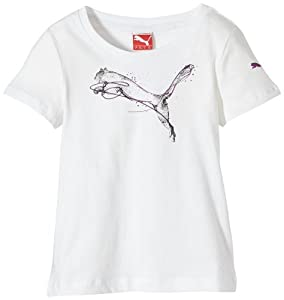 Puma Foundation Graphic T-Shirt fille Blanc FR : 4 ans (Taille Fabricant : 104)