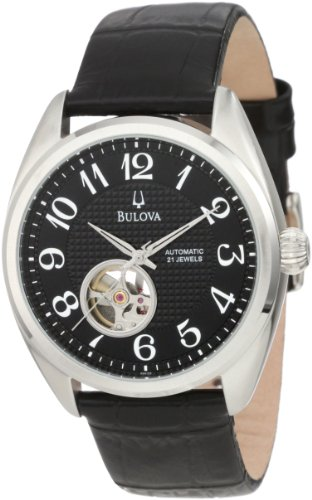 Bulova Men's Mechanical 96A125 Calf Skin Automatic Watch with Black Dial