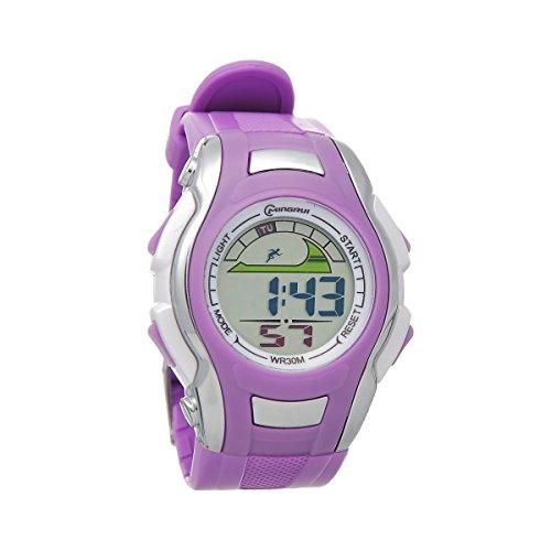 Mingrui 30M Water-Proof Digital Boys Girls Sport Watch With Alarm Stopwatch Chronograph Purple