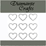 9 x 21mm Clear Diamante Hearts Self Adhesive Craft Rhinestone Embellishment Gems - created exclusively for Diamante Crafts