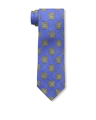 Rossovivo Men's Medallion Tie, Medium Blue
