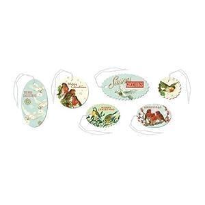 Cavallini - Tin of 36 Glittered Gift Tags - Birds - Christmas (CHRBRD)
