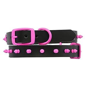 Platinum Pets Cuir Véritable Latigo Noire Collier Chien Avec Rose Pointes, 31.75cm - 39.37cm