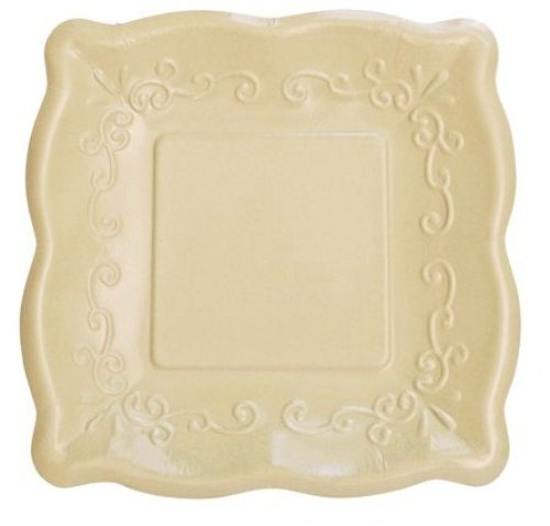 "Elise Scalloped Embossed 7"" Square Premium Paper Plates, 8 Count, Linen - 1"