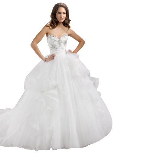 GEORGE BRIDE Elegant Ball Gown Sweetheart Neckline Chapel Train Wedding Dress