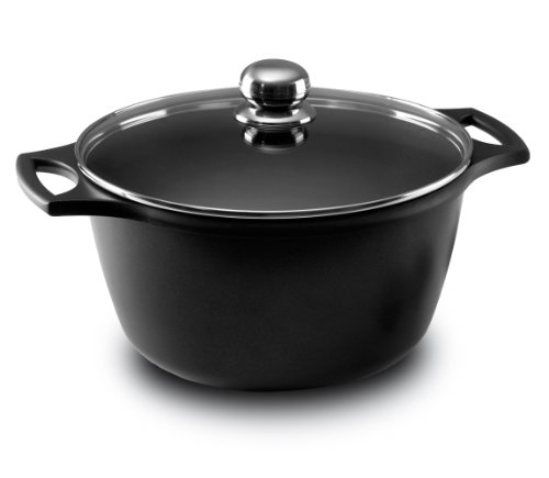 Fundix by Castey Nonstick Cast Aluminium Induction Stock Pot/Deep Casserole with Tempered Glass Lid, 11-Quart, Black