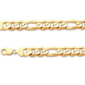 ITALY 14K GOLD CHAINS REGULAR - FIGARO 400 - 24 Inches in Length - Width: 13.8mm