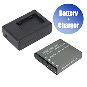 Battpit™ New Digital Camera Battery + Charger Replacement for Casio Exilim EX-Z1080GY (1200 mAh)