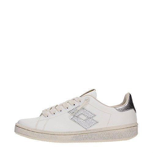 Lotto Leggenda, Donna, Autograph White Silver Metal, Pelle, Sneakers, Bianco, 38 EU
