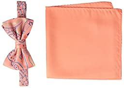 Steve Harvey Men\'s Paisley Woven Bowtie and Solid Pocket Square, Coral, One Size