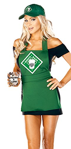 [Adult-Costume Barista Babe Md Halloween Costume - Adult Medium] (Barista Halloween Costume)
