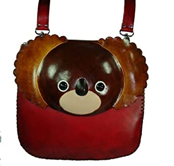 Genuine Leather Messenger Shoulder Bag, an Owl Design, Beautiful and Unique ! (Brown)
