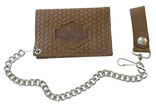 11. Harley-Davidson Men's Basket Weave Tri-fold Biker Chain Wallet Brown CH338