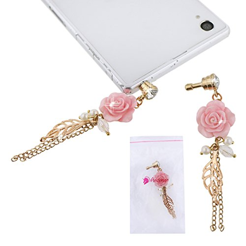 Ancerson Neu Diamant Shining Rose Blume Golden Baumblatt Perle Anhänger Staub Stecker 3.5 mm Staubschutz Glitzer Diamant Kristall Staubschutz für Smart Phones, Tablet Pc Such As Iphone 3 3g 3s 4 4s 5 5c 5s 6 6 Plus,samsung Galaxy Mega 6.3 I9200, S4 I9500 / S4 Mini/ S5 I9600/ S3 I9300 / S2/ Grand 2/ Note 2 N7100/ Note 3 N9000, I8262d I9268 HTC G18 Sensation Xe, Galaxy Ace2, Lg Nexus 4 5, Tc X920e (Butterfly) Nokia Lumia 920 928 520 720 1020 1520, Sony L36h L39h Xl39h Z1(m/ Mini/ S) Z3, Moto G, Bl