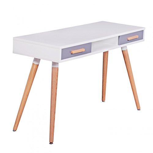 finebuy schreibtisch mdf retro holztisch 120cm breit schubladen wei b ro tisch design. Black Bedroom Furniture Sets. Home Design Ideas