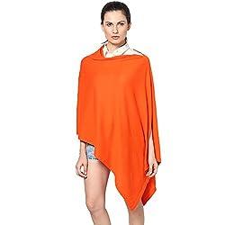 Pluchi Fashion Knitted Cotton Poncho Viktoria-Vibrant Paprika