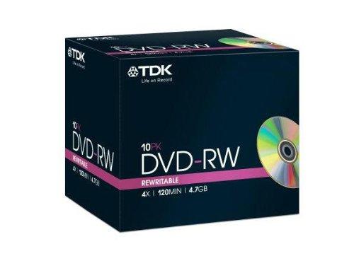 Tdk Dvd-Rw 4.7Gb 4X Pack 10 Tdk Dvdrw Blank Dvd 4.7 Gb Rewritable Dvd