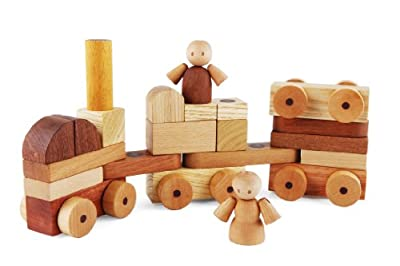 Soopsori Magnetic Wooden Cars and Blocks, 26-Piece