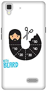 The Racoon Lean printed designer hard back mobile phone case cover for Oppo R7 Lite. (With Beard)