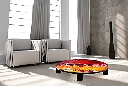 "TAF DECOR ""Hustle & Bustle 1"" Art Coffee Table, 35"" X 35"" X 7.5"", Multicolored"
