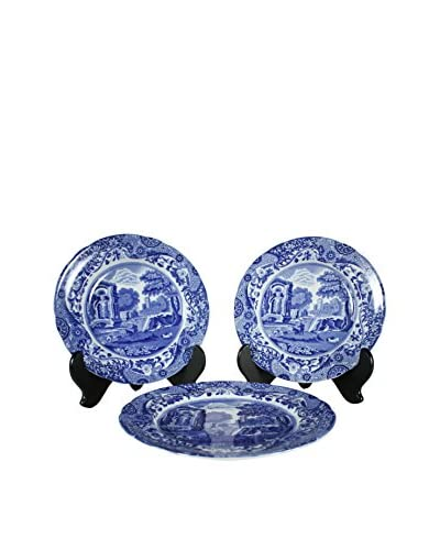 Set of 3 Flow Blue Spodes of England Plate, White/Blue