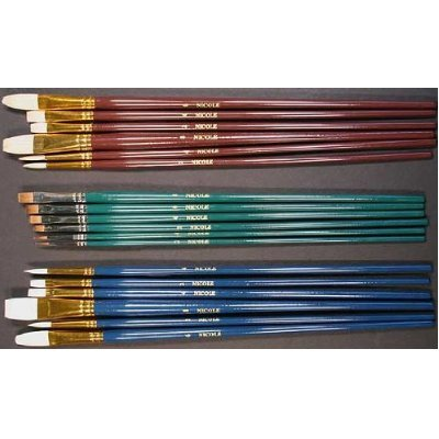 18 Fine Art Paint Brushes for Acrylic, Oil, Watercolors -Long Handles (Long Handle Paint Brush compare prices)