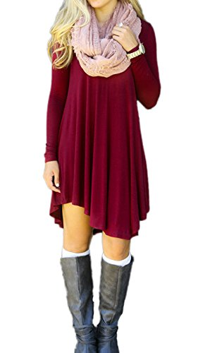 Summer Mae Women's Long Sleeve Casual Loose T-Shirt Dress (Boutique Clothing For Women compare prices)