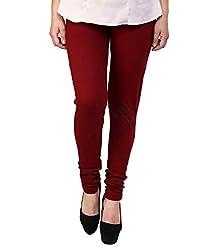 Perfect Cutt Cotton Lycra Leggings for Women (PC_001-50_Maroon_50)