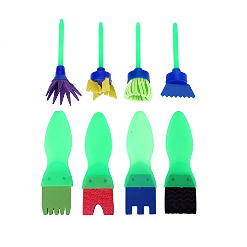 Early Leaning Mini Flower Sponge Painting Brushes Sago Brothers Craft Brushes Set for Kids 8 PCS