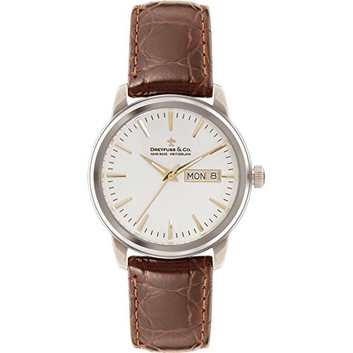 Adee Kaye Men's 1890 Brown Leather Band Steel Case Quartz White Dial Analog Watch DGS00125/02