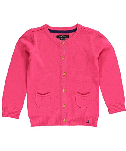 Nautica Little Girls' Jersey Cardigan Sweater With Pockets, Pink, 6X front-1032592