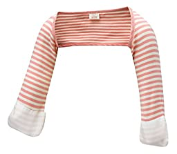 ScratchSleeves   Baby Girls\' Stay-On Scratch Mitts Stripes   Pink and Cream   6 to 9 Months