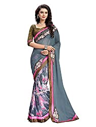 RUDDHI WOMEN'S DESIGNER GREY & PINK FASHION GEORGETTE SAREE